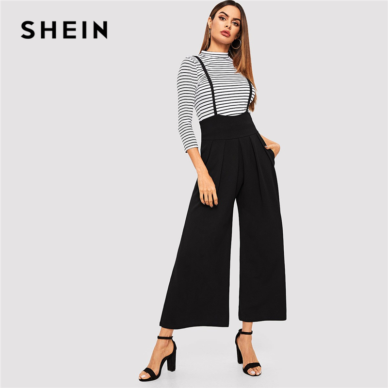 SHEIN Black Zip Back Slant Pocket Pleated Front Wide Leg Suspender Pants Women Straps Trousers Office Lady Spring Workwear Pants