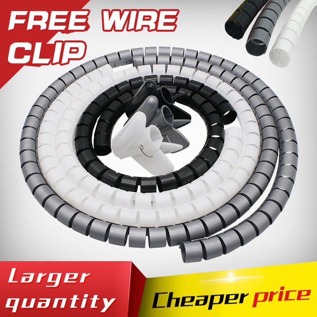 5M/roll 10MM Spiral Cable Wire Wrap pipe bundle line tube Wire ...