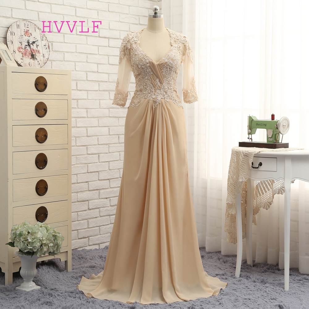 Plus Size Champagne 2019 Mother Of The Bride Dresses A-line Half Sleeves Chiffon Wedding Party Dress Mother Dresses For Wedding