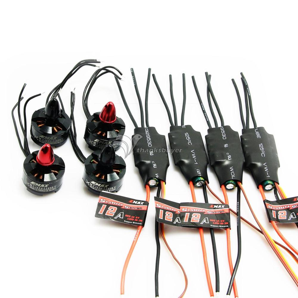 4PCS EMAX Simonk 12A ESC + 4PCS EMAX MT1806 KV2280 Brushless Motor (2pcs CW+2pcs CCW) for Multicopter FPV Photography emax mt1806 kv2280 brushless motor for qav250