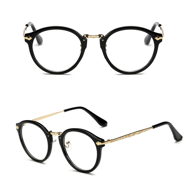 b07321d27 Women Men Vintage Glasses Frame Plain Mirror Harajuku Round Optical Frame  Girl Eyeglass Clear Lens Oculos