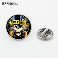 Baru Fashion Guns N Roses Kerah Pin Steampunk Kubah Kaca Rock And Roll Band Butterfly Bros Pin Stainless Steel Kerah pin(China)