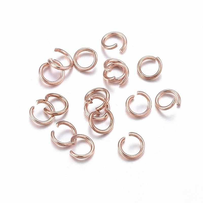 500pcs 304 สแตนเลสสตีลแหวน Rose Gold เดี่ยวห่วงเปิดแหวนแยกแหวนสำหรับเครื่องประดับหา DIY F60