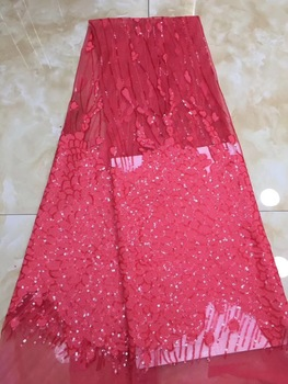 African Lace Fabrics 5 Yard Red Yellow BlueGuipure Lace Fabric igh Quality African Cord Lace Fabric For Wedding Dresses D74