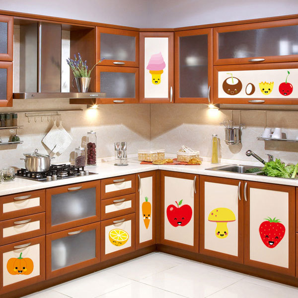 Fruit Wall Stickers Refrigerator Kitchen Cabinet Freezer Cartoon