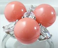 Hot Sale New Style Pink Coral 3 Beads 18KWGP Crystal Ring Size 7 8 9