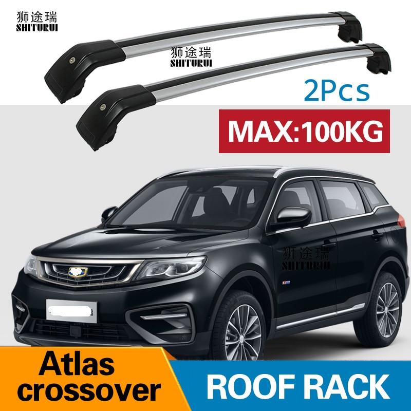 2 pcs barres de Toit Pour 2018 Geely Atlas crossover X7 Sport 2016-2018 En Alliage D'aluminium Barres Latérales Croix Rails toit Porte-Bagages