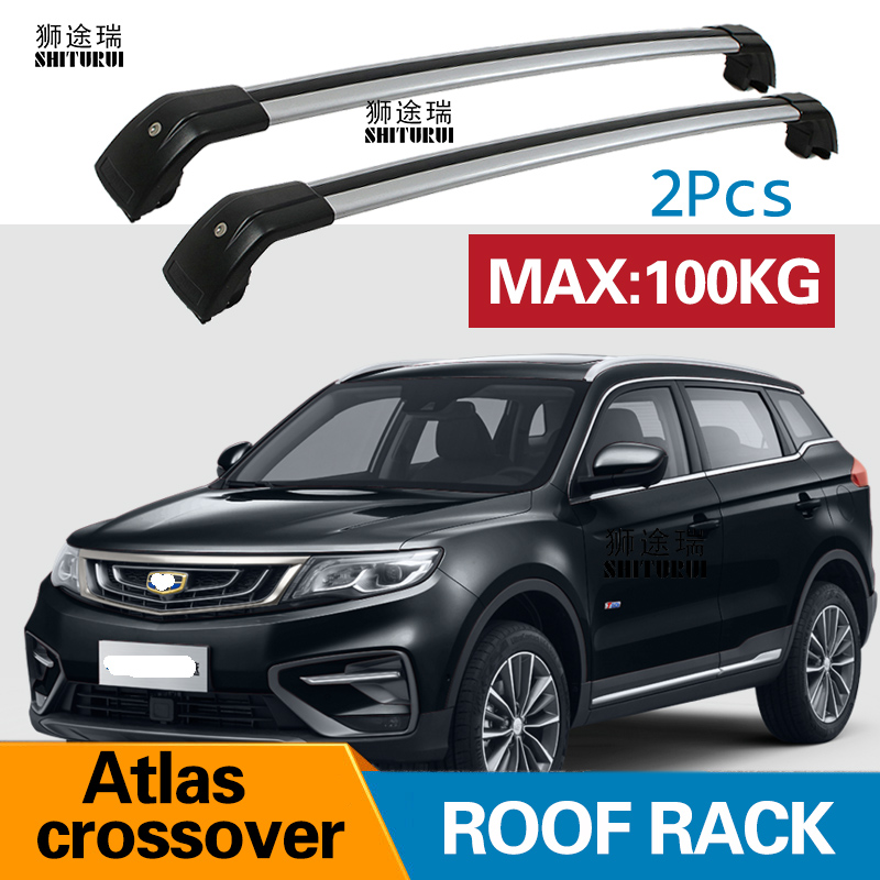 2Pcs Roof bars For 2018 Geely Atlas crossover X7 Sport 2016 2018 Aluminum Alloy Side Bars Cross Rails Roof Rack Luggage