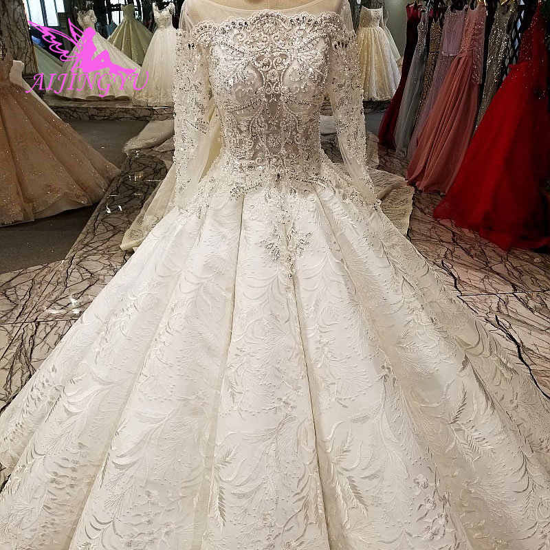 Aijingyu Antique Wedding Dresses Frocks For Bride Plus Size Muslim Wears White Gown With Sleeves Long Train Dress Aliexpress