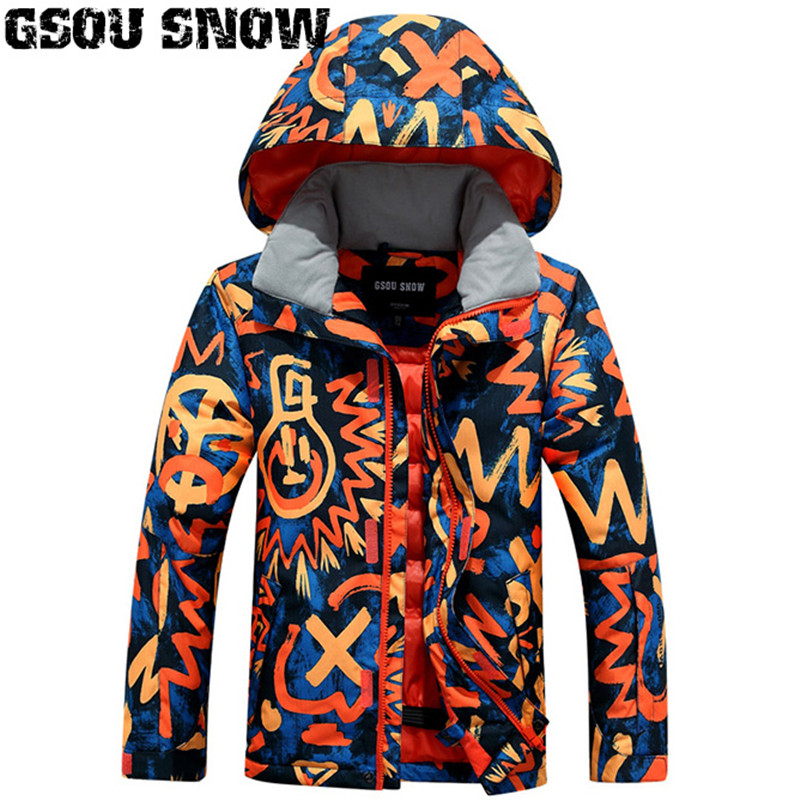 Gsou Snow Kids Ski Jacket Snowboard Jacket Boys Outdoor Sport Wear Windproof Waterproof Thermal Children Skiing Clothing Coat