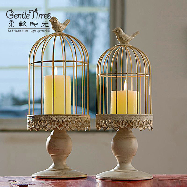Beautiful Bird Pattern Metal Lantern Candle Holders Vintage Iron Hanging Candle Holders Wholesale Antique