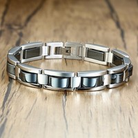 Stylish Mens Magnetic Hematite Bracelets Silver Black Two Tone Stainless Steel Link Chain Pulseira Masculina