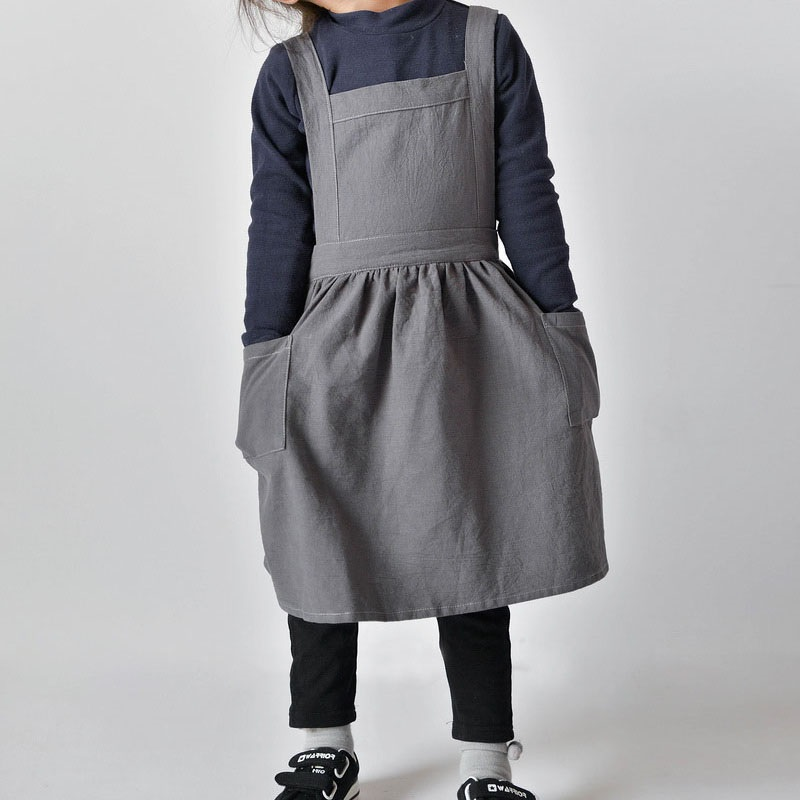 10pcs Kids Skirt Aprons Simple Washed Cotton Linen Uniform Unisex Aprons Drawing Cooking Gardening Multi Use ZA6901|Aprons| |  - title=