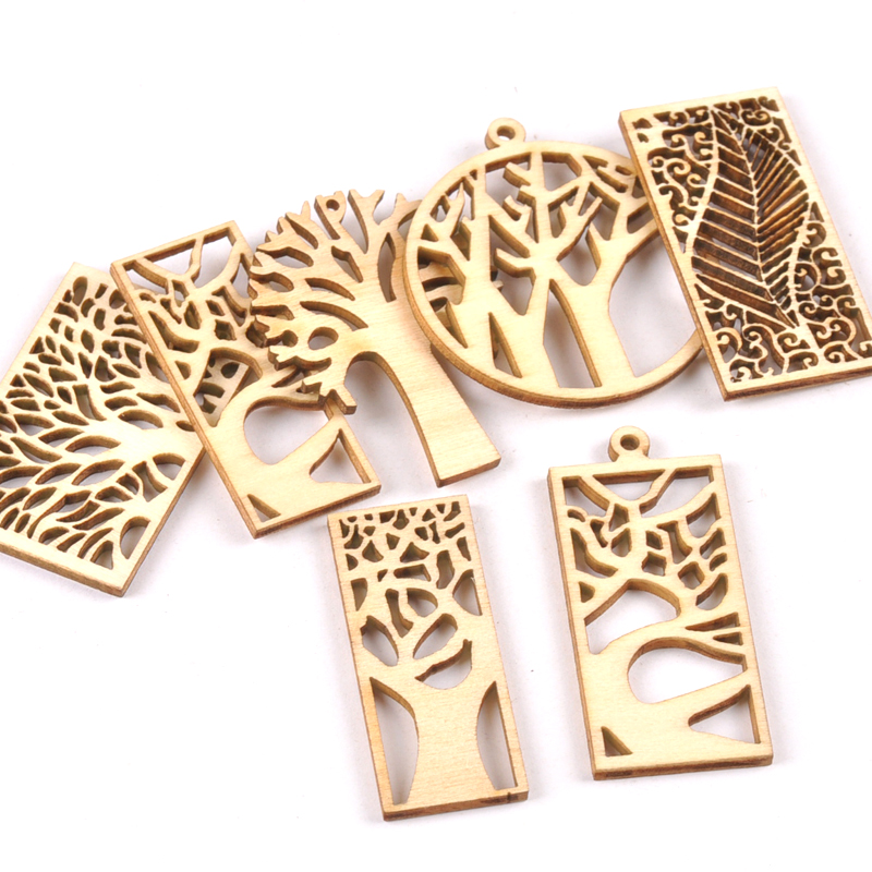 10pcs Wooden Crafts Creativity Hollow Out Tree Pattern Scrapbooking Crafts Wood Decoration For Home Decoration M2131