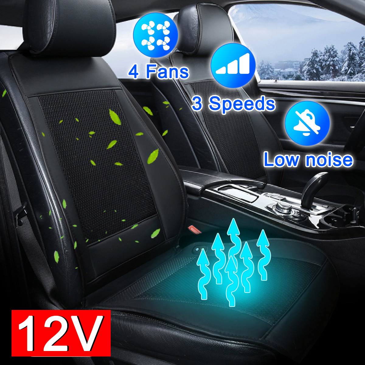 With 4 BUILT-IN Fan 12V 3D Cooling Fan Cool Cushion Fan Blowing Cool 3 Speed Car Ventilation Cushion Summer Air Cooler Chair Pa