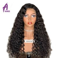 Peruvian Water Wave Human Hair Glueless Lace Front Human Hair Wig With Baby Hair Pre Plucked Remy Hair 130 Density Alimice Wig