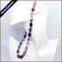 Piedra natural de la joyería del collar y colgantes para las mujeres verdadero arco iris de fluorita cristal tambor facetas línea choker collares 20″