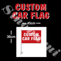 More than 500 pcs will be sent Custom Design 30*45cm 100D Polyester Any Logo All Color Custom Car Flag