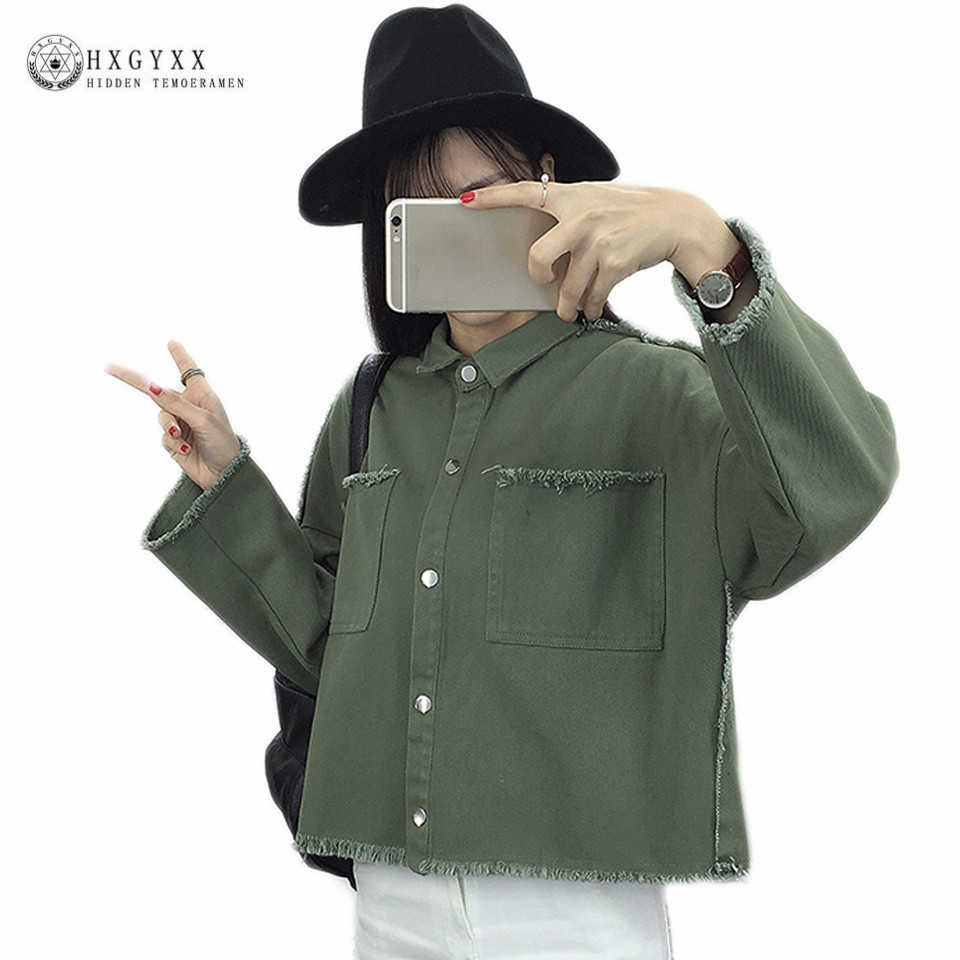 2019 Autumn Causal Outerwear Women Turn-down Loose Irregular Edges Denim Jackets Fashion New Letter Embroidery Crop Tops OKA338