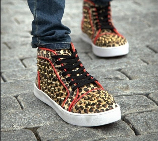 5f236434a205 Wholesale Sneakers for Men!!Free Shipping Fashion Flat skateboarding shoes,High  Upper Casual Boots leopard print rivets shoes