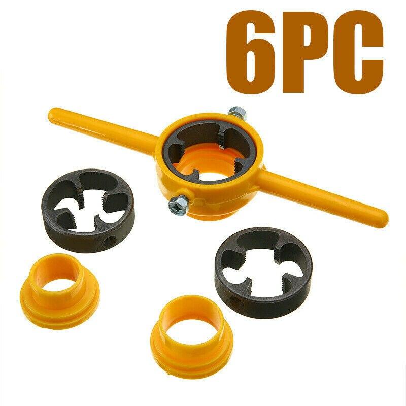 6Pcs NPT Die Set PVC Tools Thread Maker Sizes: 1/2, 3/4, 1 Alloy Tarraja Tubo