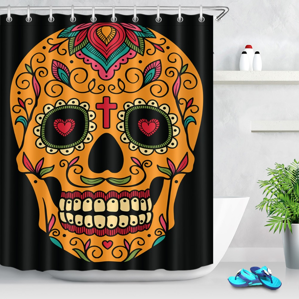 Dia de Los Muertos Sugar Skull Bathroom Fabric Shower Curtain Set Waterproof New