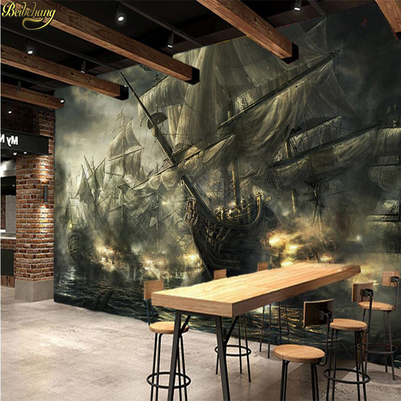 Beibehang Custom Photo 3d Wallpaper Fresco Vintage Nostalgia Pirate Ship Bar KTV Theme Forklift Background Wall Papel De Parede