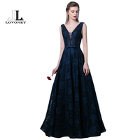 LOVONEY Sexy Deep V Neck Backless Evening Dress Long Lace Dress Evening Party Gown Formal Dresses