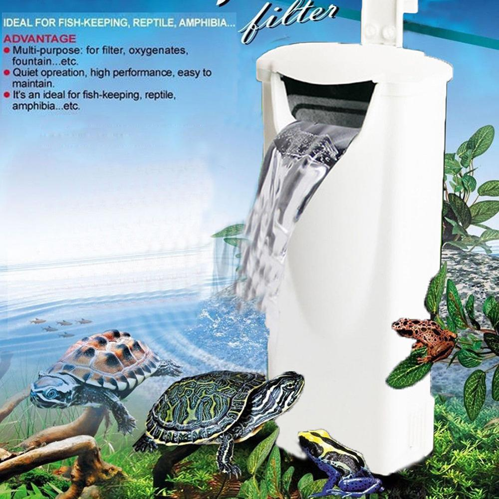 Waterfall Aquarium Turtle Fish Tank Oxygen <font><b>Pump</b></font> Built-In Low <font><b>Water</b></font> Level Filter <font><b>220</b></font>-240V 3W Fish Aquarium Accessories EU plug image