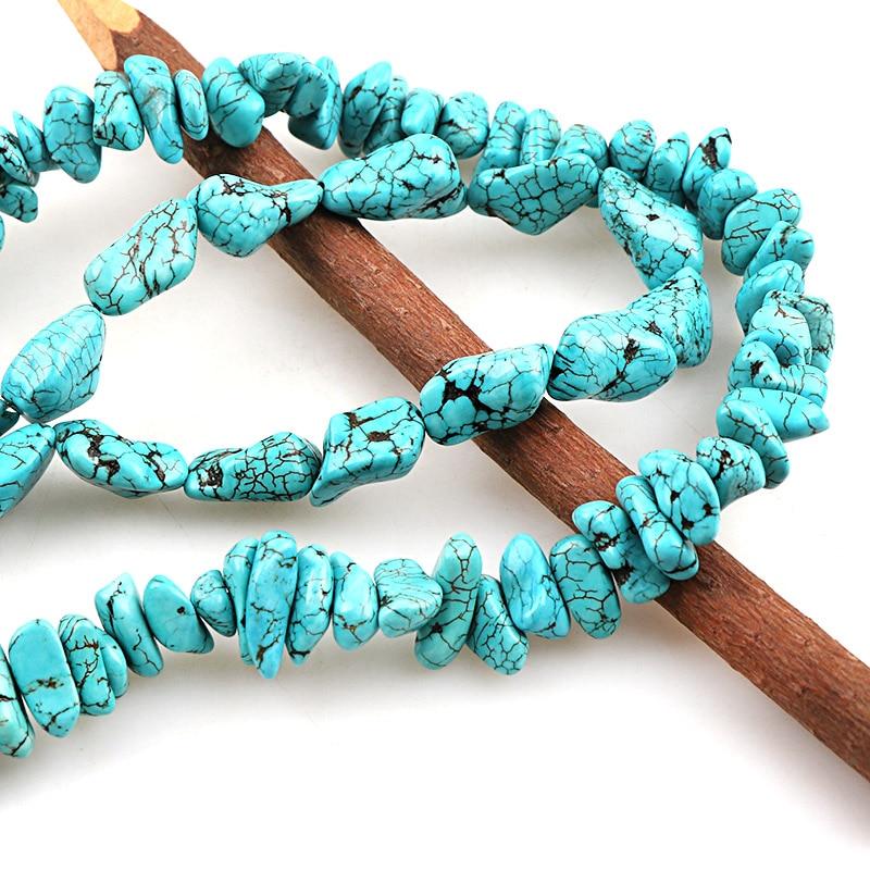 Искусственный камень голубой бирюзой Howlite гравия упали Свободные Spacer Камни Бусины DIY Браслеты Цепочки и ожерелья ювелирных изделий