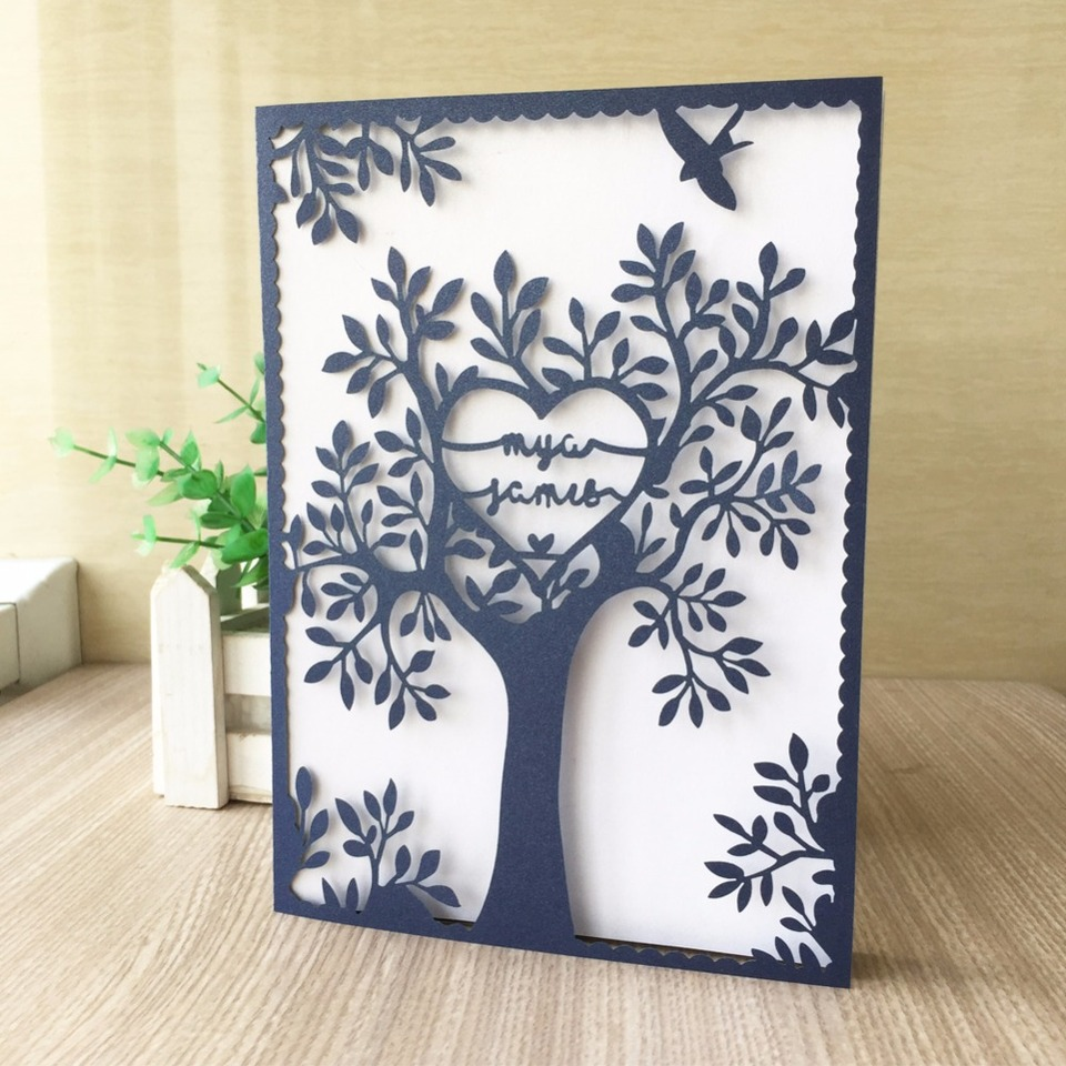 40Pcs/Lot Laser Cut Wedding Invitation Card Animated Tree Design Birthday  Party Invitation Card Greeting Card|Cards & Invitations| - AliExpress