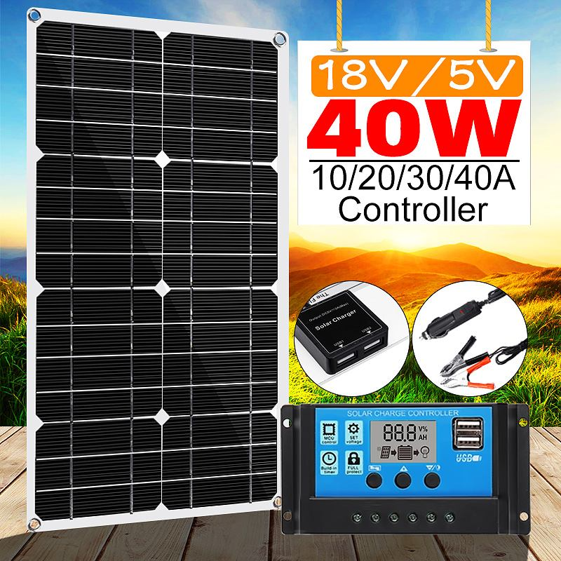 40W Solar Panel 18V Double USB With 10/20/30/40/50A Dual USB Solar Panel Regulator Controller Ect For Car Yacht RV Lights Charge