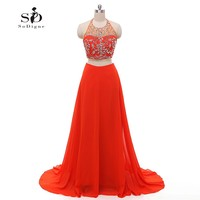 Crystals Red Prom Dress 2018 Two Pieces A line Chiffon Party Dresses Custom Made Long Evening Party Dress