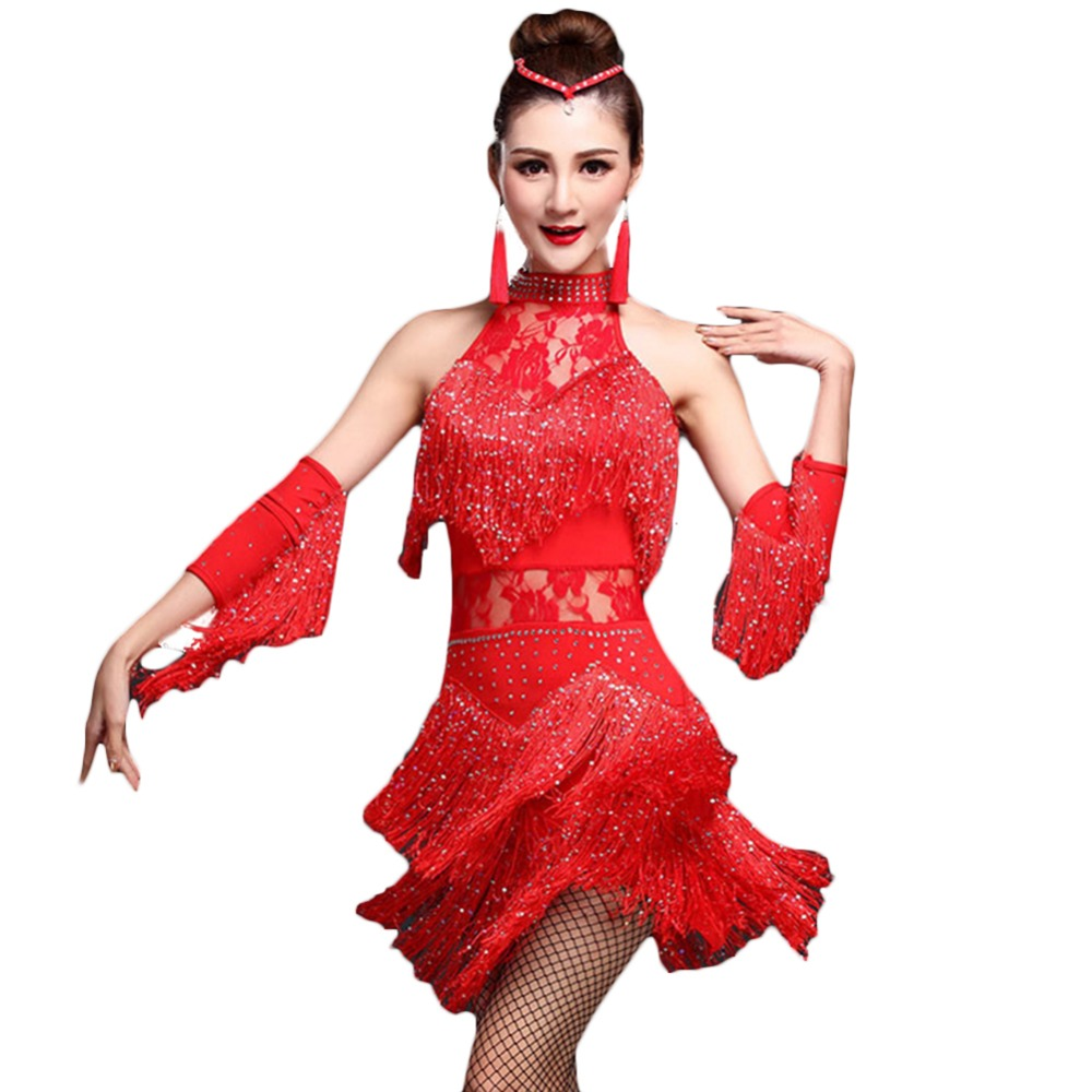 Fringe Latin Dance Competition Dresses Dress&HandSleeve Great Gatsby Dress 4colors Samba Carnival Costumes Traje Danza DQ3071