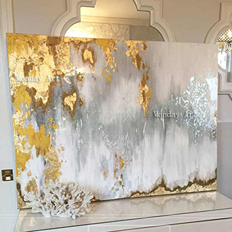 Big size Handmade thick knife abstract oil painting Gold Gray White gorgeous abstract Painting home Decor Oil Painting on Canvas