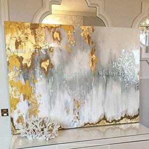 Image 1 - كبيرة الحجم اليدوية سكين سميكة مجردة النفط اللوحة الذهب رمادي أبيض رائع مجردة اللوحة ديكور المنزل النفط الطلاء على قماش