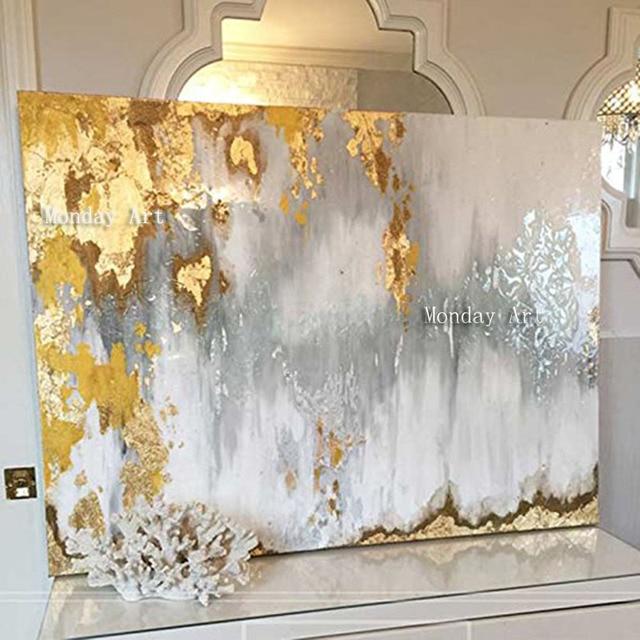 كبيرة الحجم اليدوية سكين سميكة مجردة النفط اللوحة الذهب رمادي أبيض رائع مجردة اللوحة ديكور المنزل النفط الطلاء على قماش