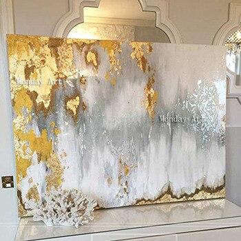 Gran tamaño hecho a mano cuchillo grueso pintura al óleo abstracta oro gris blanco precioso pintura abstracta pintura al óleo de decoración para el hogar en lienzo
