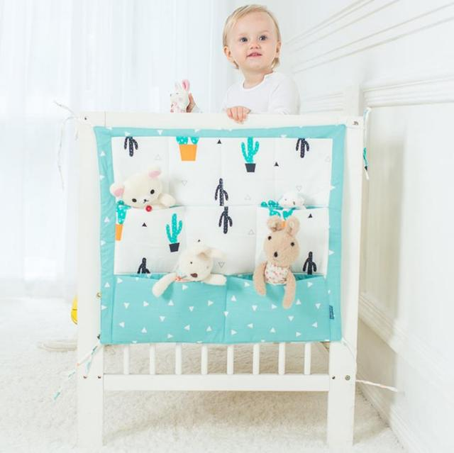 Baby Bed Hanging Storage Bag Cotton Cartoon Multifunctional Bedside
