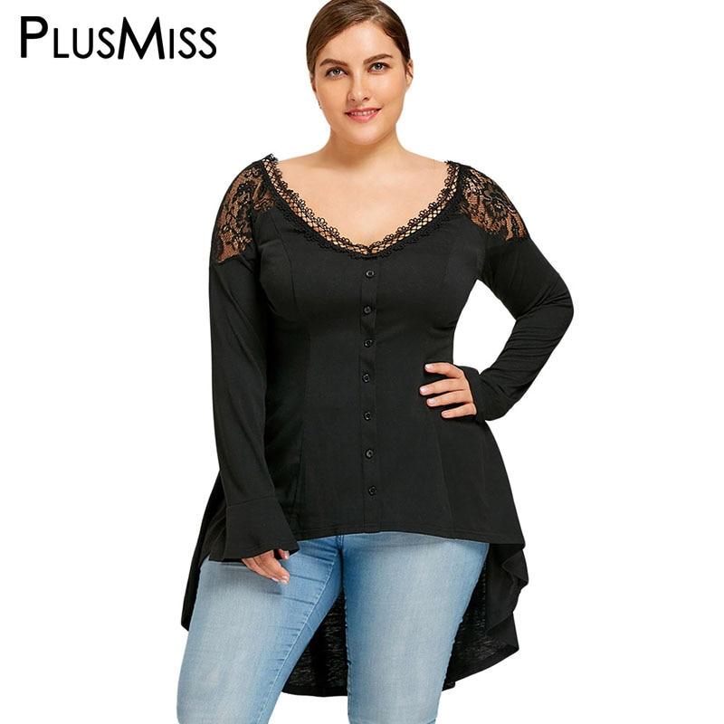 PlusMiss Plus Size 5XL Lace Crochet Tunic Tops Women Autumn 2017 Long Sleeve Asymmetrical V Neck Vintage Long Loose Blouse Shirt