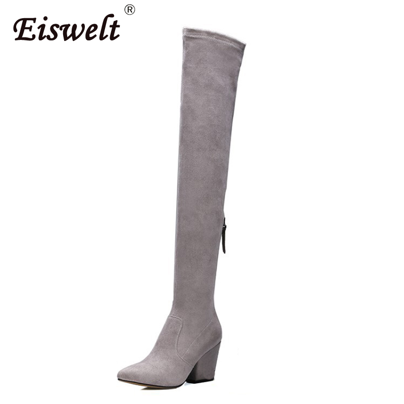EISWELT Women Winter Over The Knee Boots High Heels Female Quality Sheepskin Zip Solid Color Thigh High Boots Platform#ZQS162