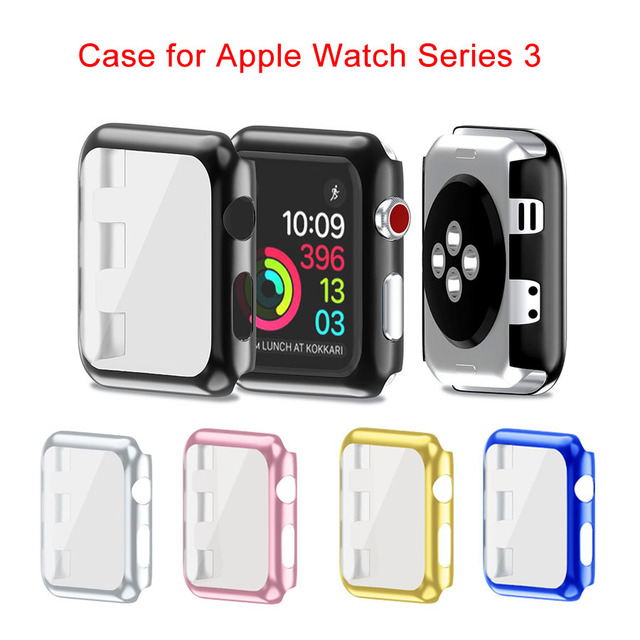 hot sale online b8bfa 272d4 US $3.65 18% OFF|HAOBA Plastic Case Cover For Apple Watch Series 3 Full  Protection Cover with Screen Protector For Apple Watch 38mm 42mm-in Smart  ...