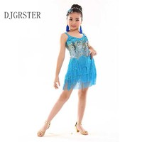 DJGRSTER Children Professional Latin Dance Dress For Girls Ballroom Dance Competition Dresses Kids Modern Waltz Cha