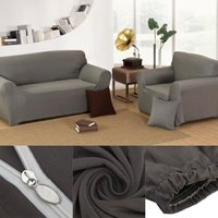 Sofa Cover Grey Chair Loveseat Sofa Couch Stretch Protector Cover Slipcover 1 2 3 4 Couch