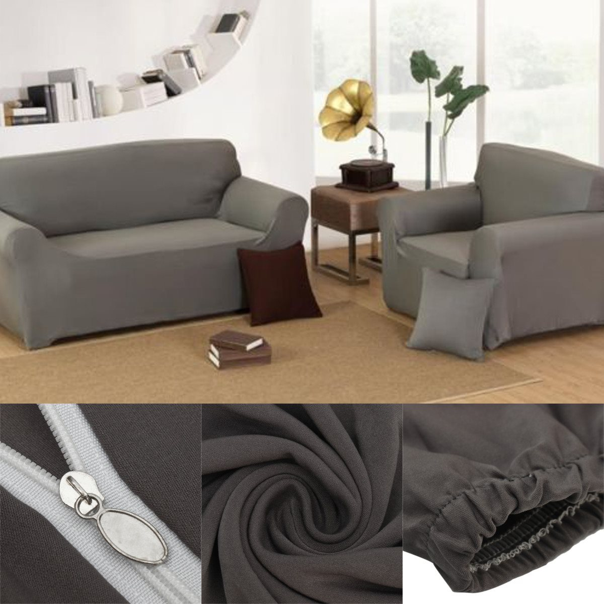 Sofa cover grey chair loveseat sofa couch stretch for Grey sofa and chair