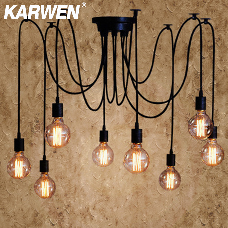 KARWEN נורדי עכביש תעשייתי תליון מנורת E27 לופט אדיסון תעשייתית תליית מנורות אורך 120cm 150cm 200cm תליון אורות