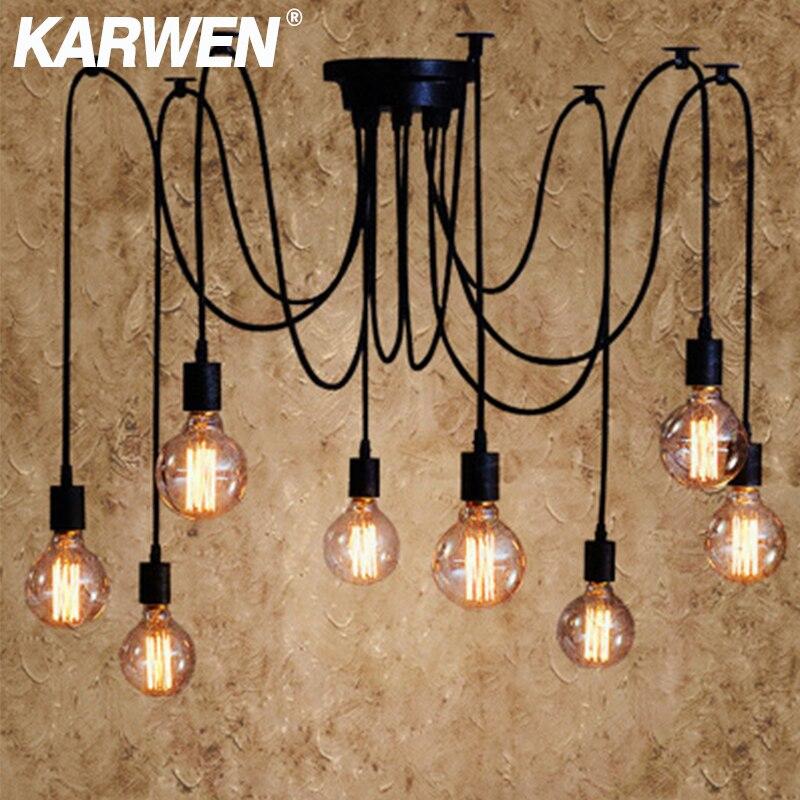 KARWEN Nordic örümcek endüstriyel askı lamba E27 Loft Edison endüstriyel asılı lamba uzunluğu 120cm 150cm 200cm kolye ışıkları
