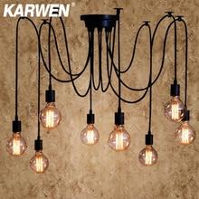 Lámpara colgante Industrial de araña nórdica KARWEN E27 Loft Edison lámparas colgantes industriales longitud 120cm 150cm 200cm luces colgantes