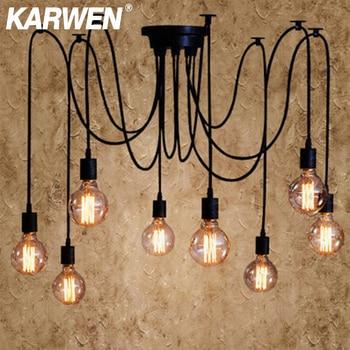 KARWEN Nordic Spider Industrial Pendant Lamp E27 Loft Edison Industrial Hanging lamps Length 120cm 150cm 200cm Pendant Lights Home Decor & Toys