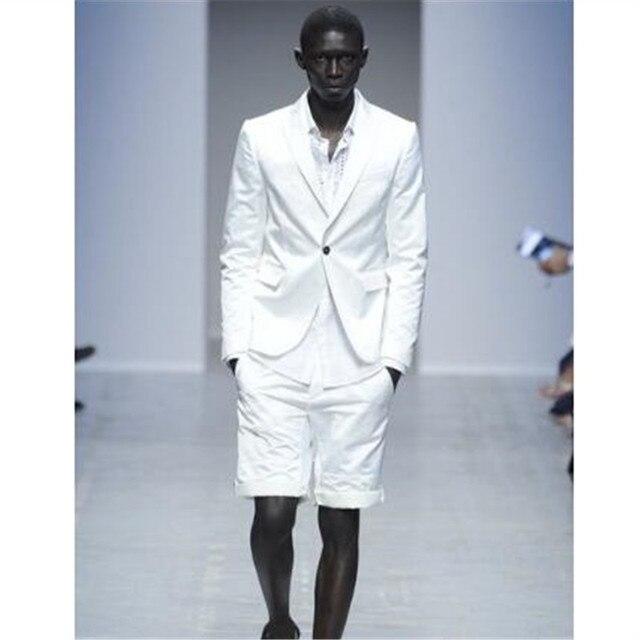 2018 nueva llegada blanco hombres traje pantalones cortos trajes de verano Casual  Slim Fit 2 unidades 040126dafea